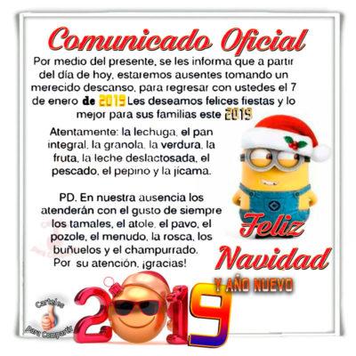 Comunicado oficial de navidad